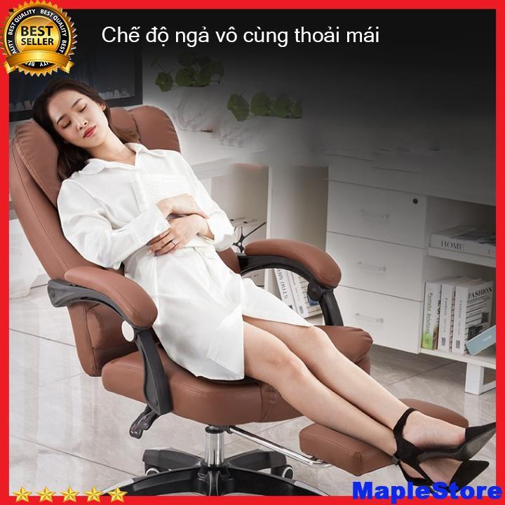 Ghế xoay văn phòng massage 5 điểm có ngả lưng, kê chân thư giãn