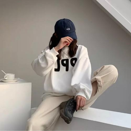Áo Hoodie Nữ Form Rộng Màu Trắng Phong Cách Ulzzang Hàn Quốc