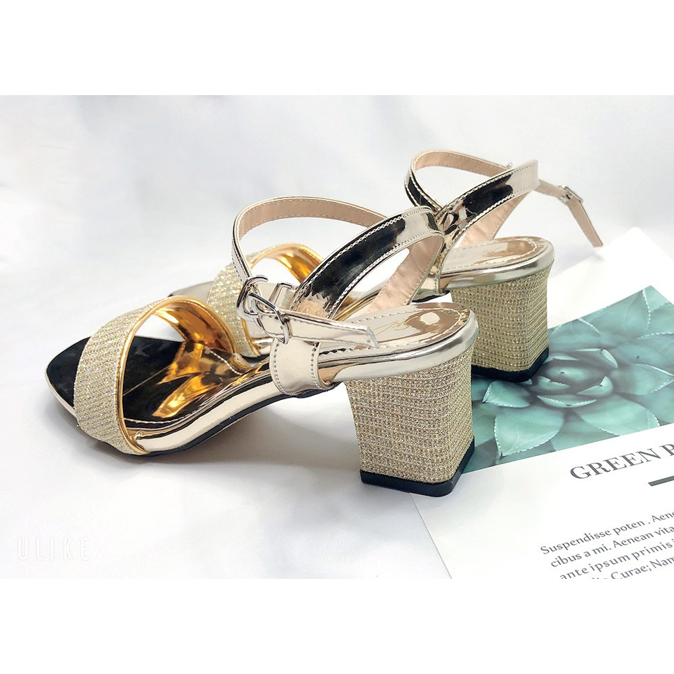 [Bán Buôn] Giày Cao Gót👠 Sandal Cao Gót Kim Tuyến Mũi Vuông Cao 5 Phân Thời Trang Mẫu Mới 2021