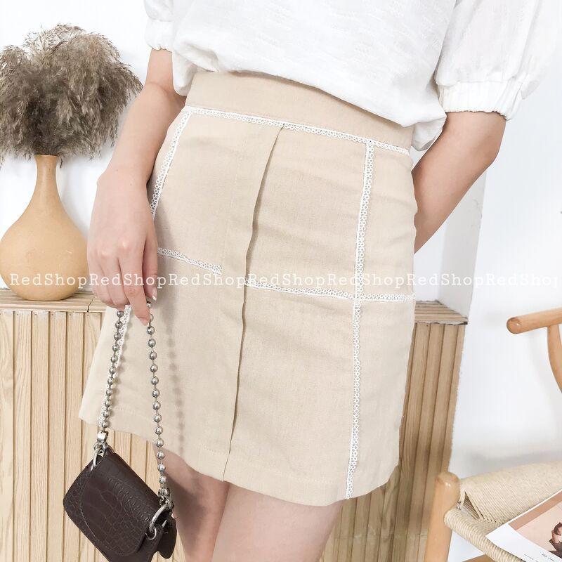 Chân váy linen phối ren