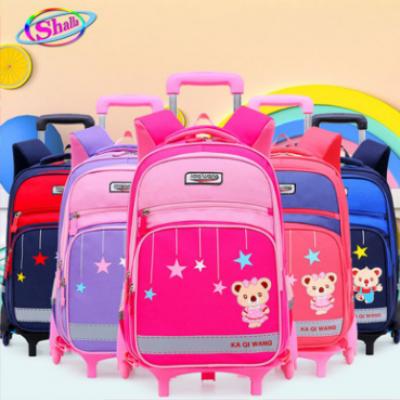 Balo cần kéo trẻ em chống mòn đi học in hình Gấu sao băng cao cấp loại 6 bánh xe đa năng Shalla