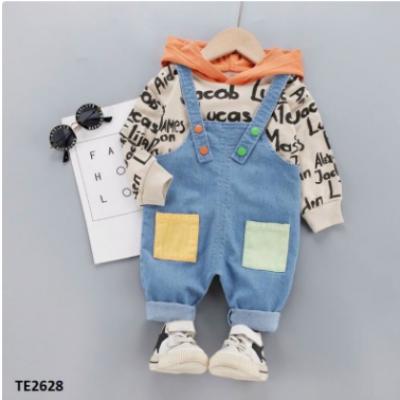 Bộ quần yếm bò áo thun chữ cái có mũ cực cá tính, đẹp trai TE2628