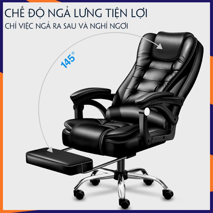 Ghế văn phòng cao cấp [Hàng Có Sẵn] massage 5 điểm, có ngả lưng , kèm kê chân, chất liệu da cao cấp
