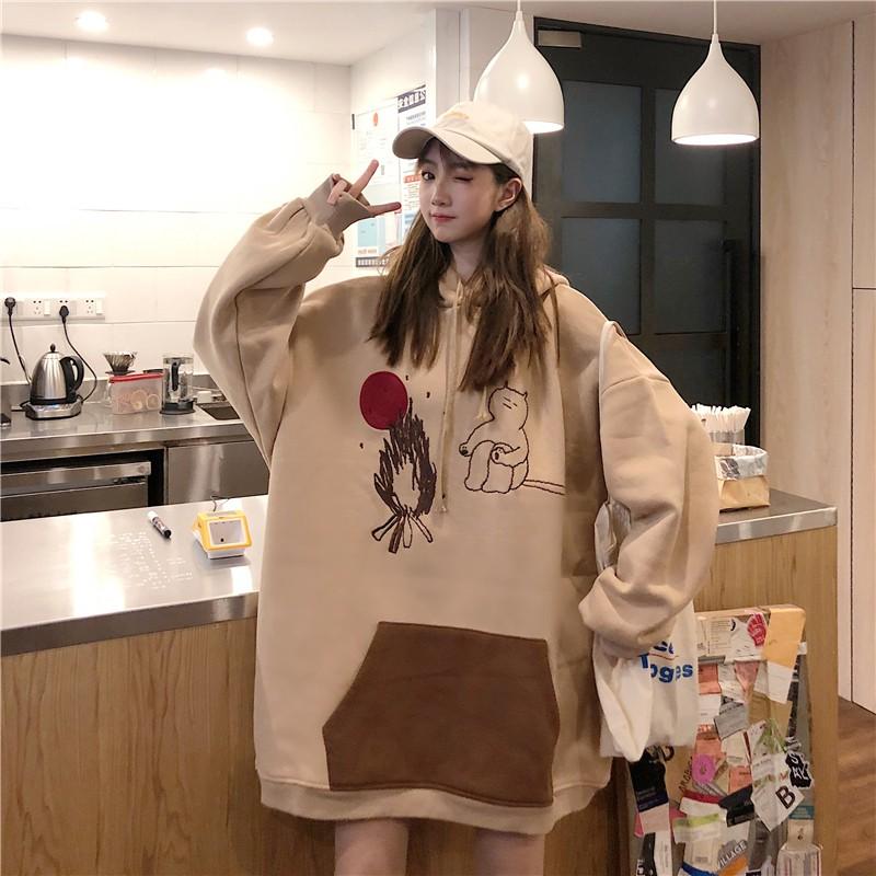 [CÓ BIGSIZE- HD63] Váy hoodie con gấu tay phồng có túi trước bụng phong cách hàn quốc - Liti shop