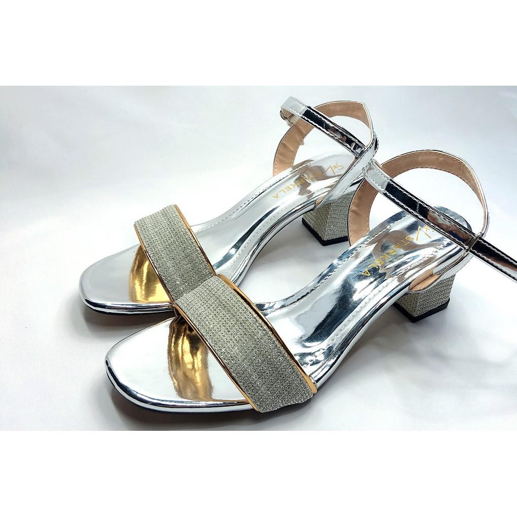 Giày Cao Gót👠 Sandal Cao Gót Kim Tuyến Mũi Vuông Cao 5 Phân Thời Trang Công Sở Mẫu Mới 2021