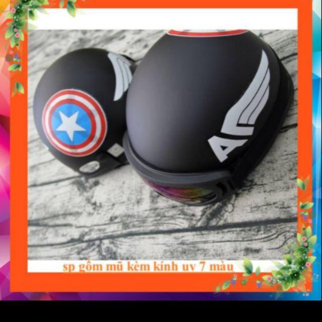Combo 2 mũ bảo hiểm captain kèm kính và chong chóng gắn mũ