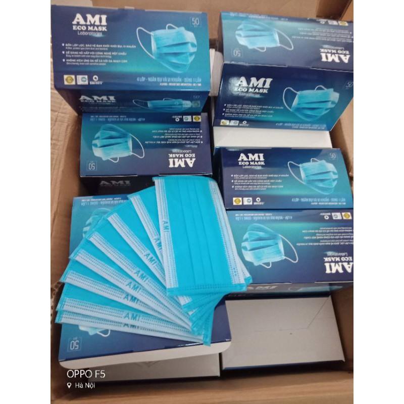 (Ami xanh) Hộp khẩu trang Ami 4 lớp màu Xanh chính hãng