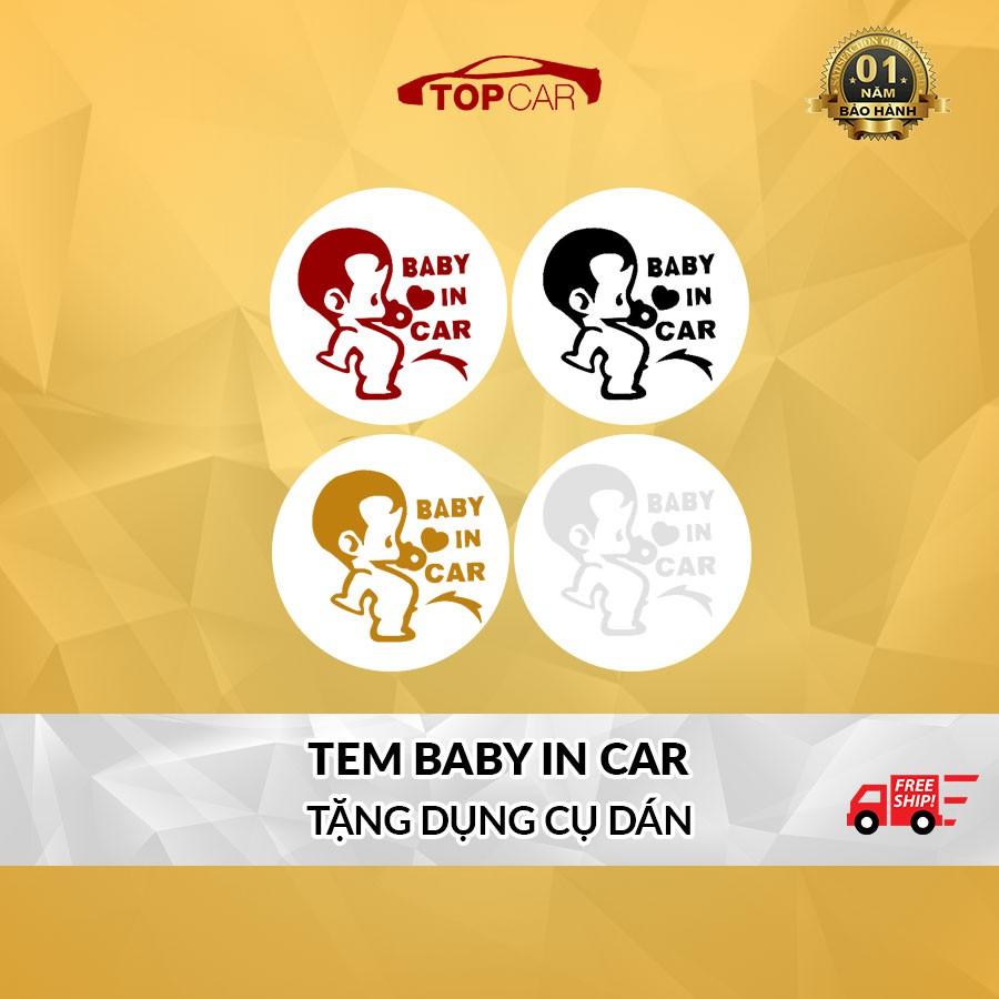 ⚡️ĐỘC ĐÁO⚡️Miếng Dán BABY IN CAR Dán Ô Tô Vừa Đẹp Vừa Cảnh Báo An Toàn Tặng Kèm Dụng Cụ Dán