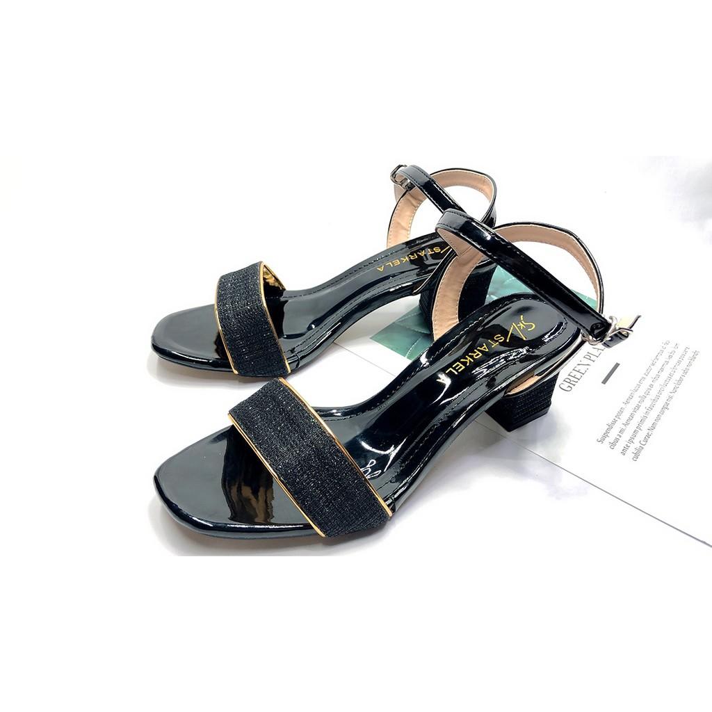 [Bán Sỉ] Giày Cao Gót👠 Sandal Cao Gót Kim Tuyến Mũi Vuông 5 Phân Thời Trang Mẫu Mới 2021