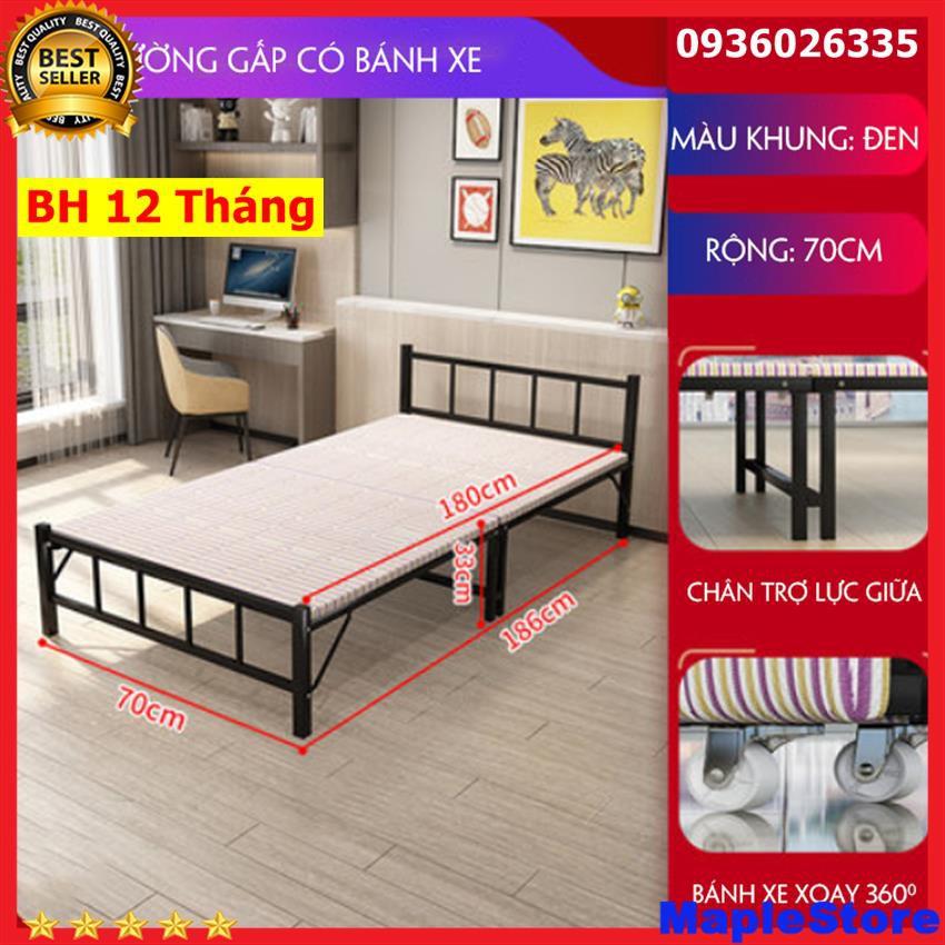 Giường xếp gọn khung sắt, giường gấp gọn có bánh xe tiện dụng ( rộng 90cm)