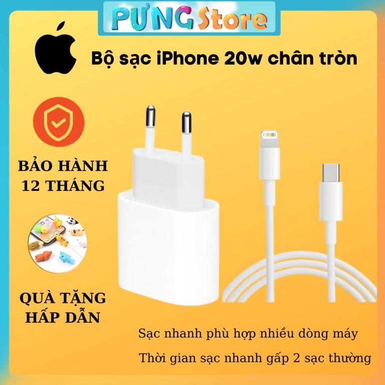 Bộ sạc nhanh 20W IPhone 12 chân tròn EU Nguyên Seal Full box BH 12T