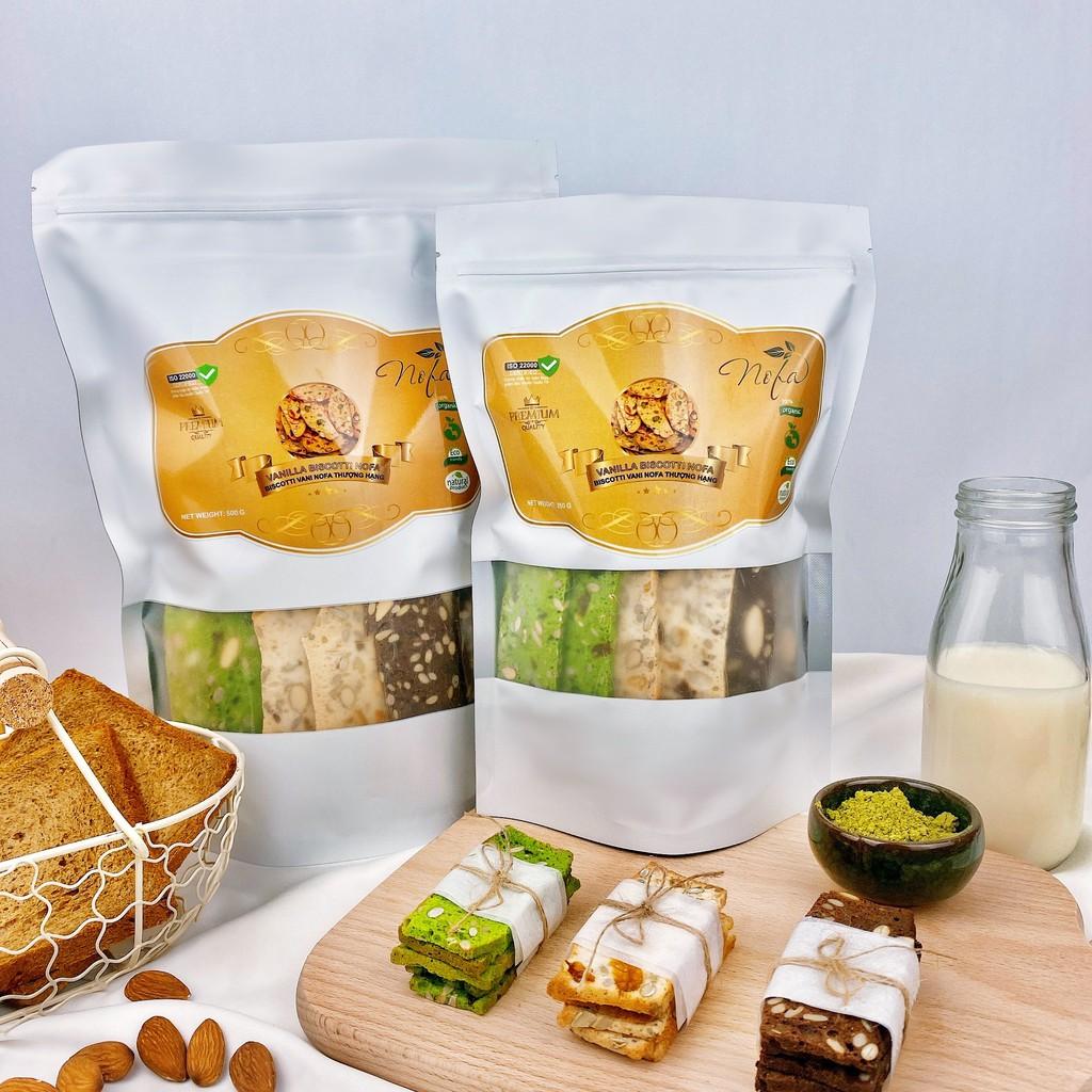 Bánh BISCOTTI Nguyên Cám Không Đường 100% by NoFa - Bánh Ngũ Cốc Ăn Kiêng Healthy