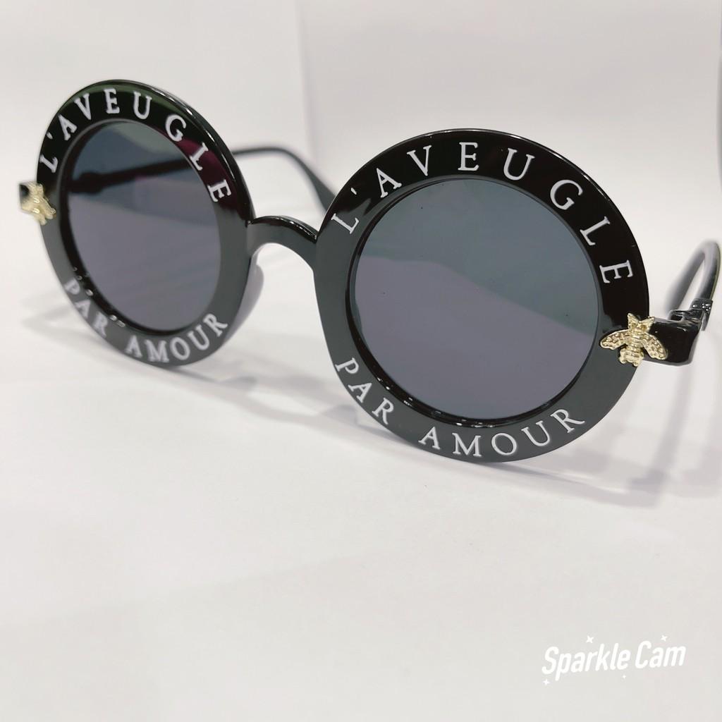 Mắt kính thời trang nam nữ, Kính râm unisex tròng tròn sang chảnh, chất liệu cao cấp mã 107