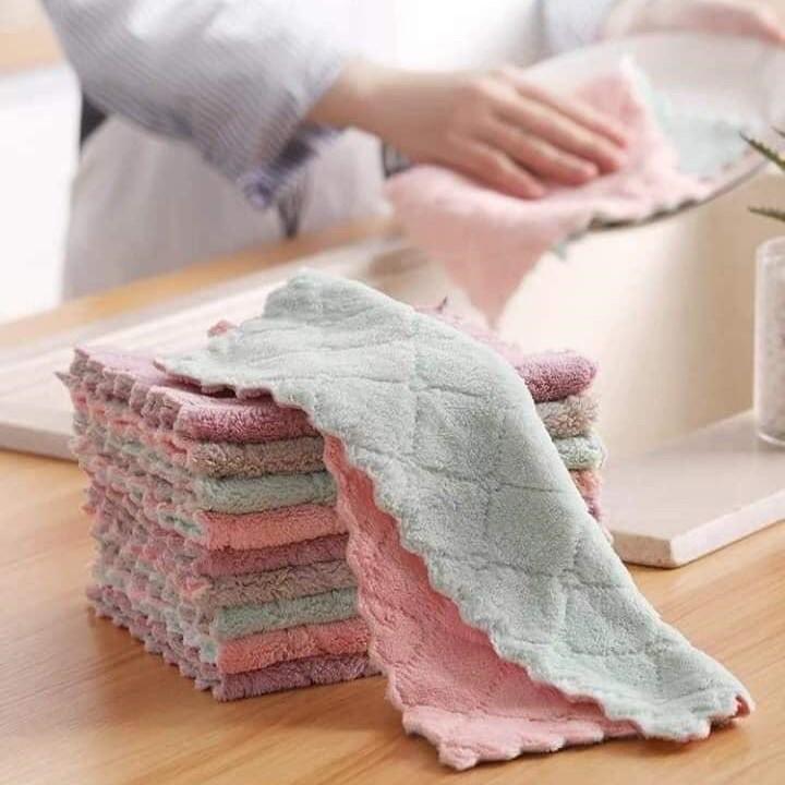 Khăn lau ♥️FREESHIP♥️ Combo 10 khăn lau tay nhà bếp 2 mặt siêu thấm (KLT04)