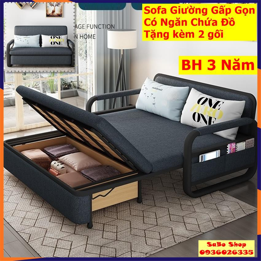 Giường sofa thông minh T359 có ngăn chứa đồ, gấp gọn thành ghế , KT 1m38*1m9