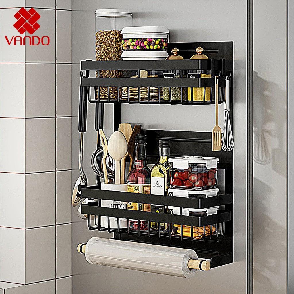 [𝗙𝗿𝗲𝗲𝘀𝗵𝗶𝗽] Kệ đa năng dán tủ lạnh VANDO sơn đen CAO CẤP chống han gỉ