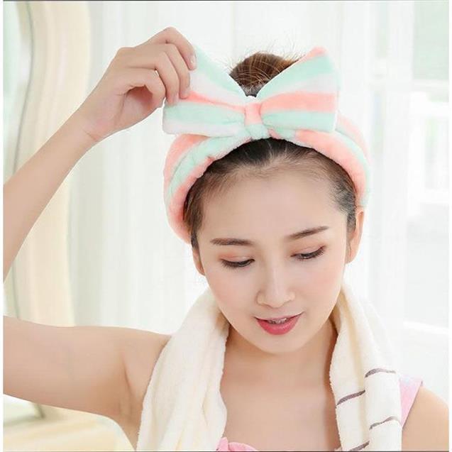 ♥️FREESHIP♥️ Băng đô nơ vải nhung 3D rửa mặt mềm mịn, bờm tóc turban rửa mặt siêu mềm mịn, ôm sát, không gây đau đầu CMS