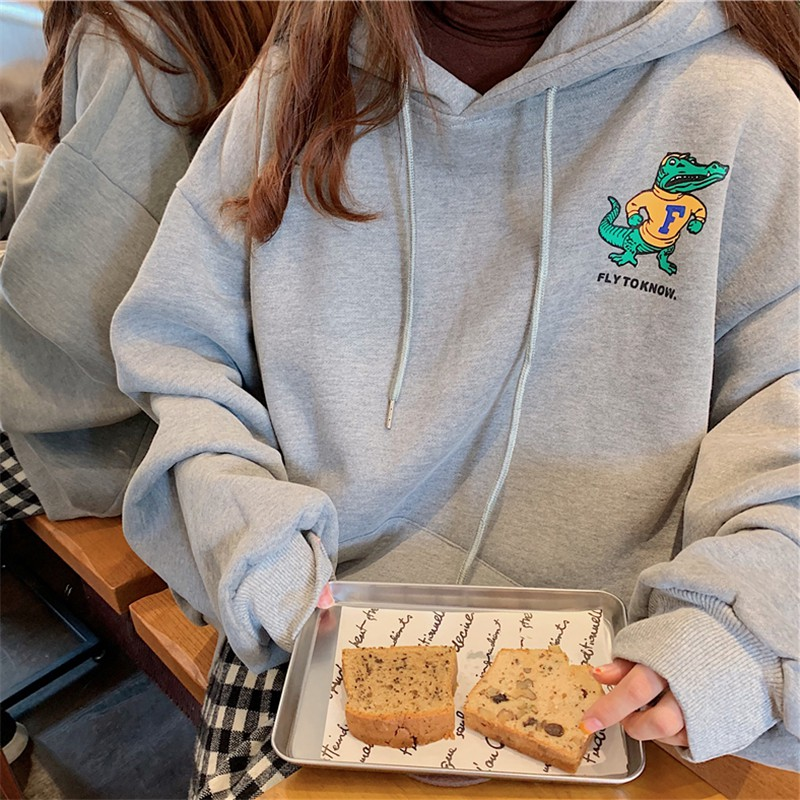 [HD01] Áo Hoodie Nỉ Bông Cá Sấu Trước Ngực Phiên Bản Hàn Quốc - Liti shop