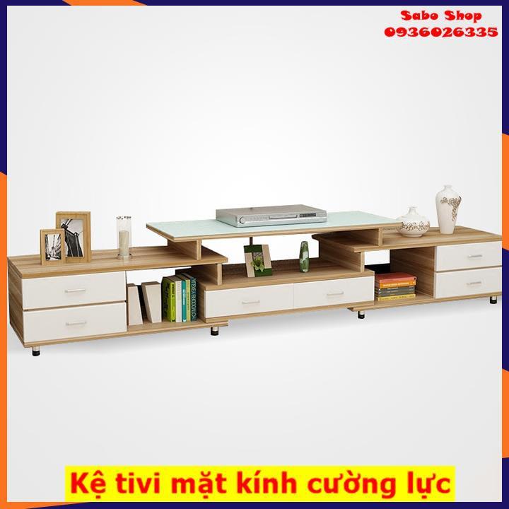 Kệ tivi gỗ phòng khách, kệ để tivi bàng gỗ MDF, 6 ngăn kéo,mặt kính cường lực