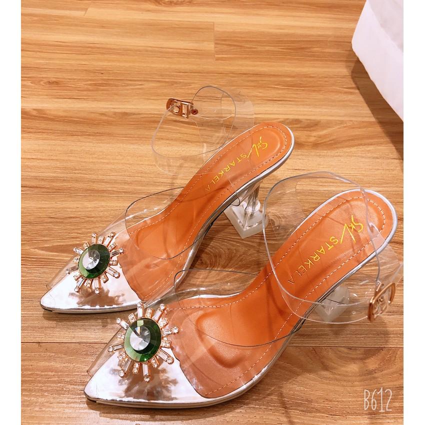 [Bán Buôn] Giày Dép Cao Gót Nữ👠 Sandal Nữ Cao Gót Mặt Mê Ca Đính Đá Cao 7cm Siêu Mềm Phù Hợp Đi Làm/ Đi Chơi