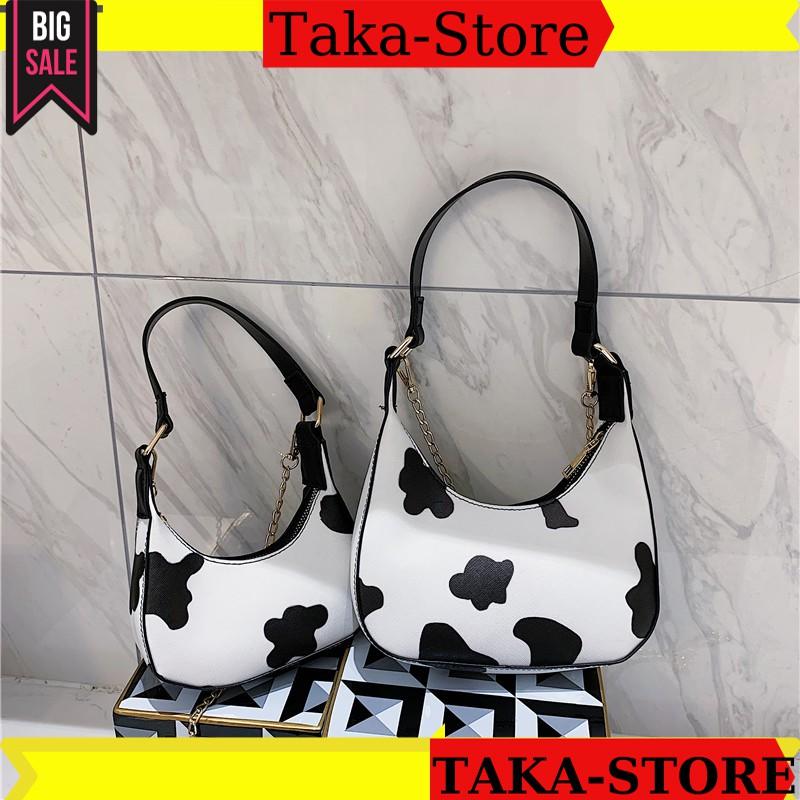 Túi kẹp nách nữ họa tiết bò sữa unisex form chuẩn da bóng, túi bò sữa đeo vai