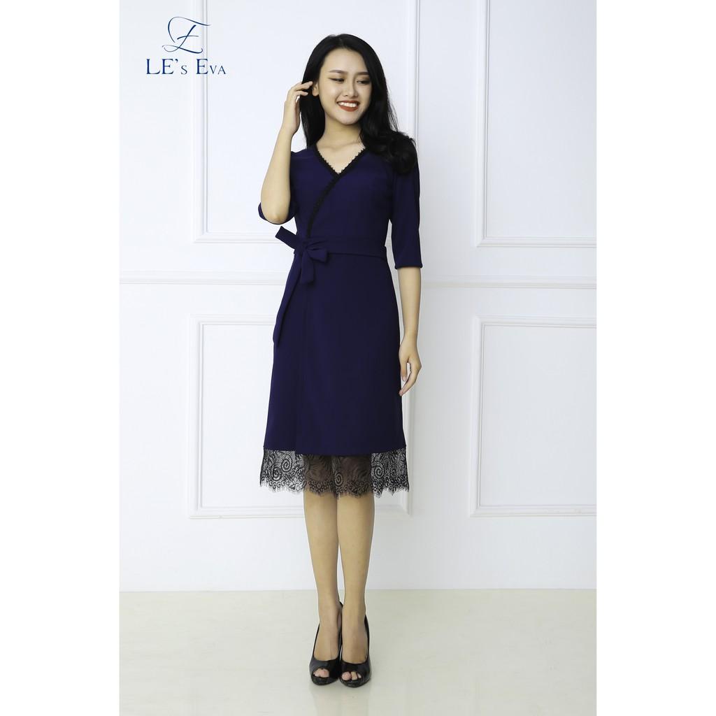 Đầm xòe xanh tím than phối ren cao cấp