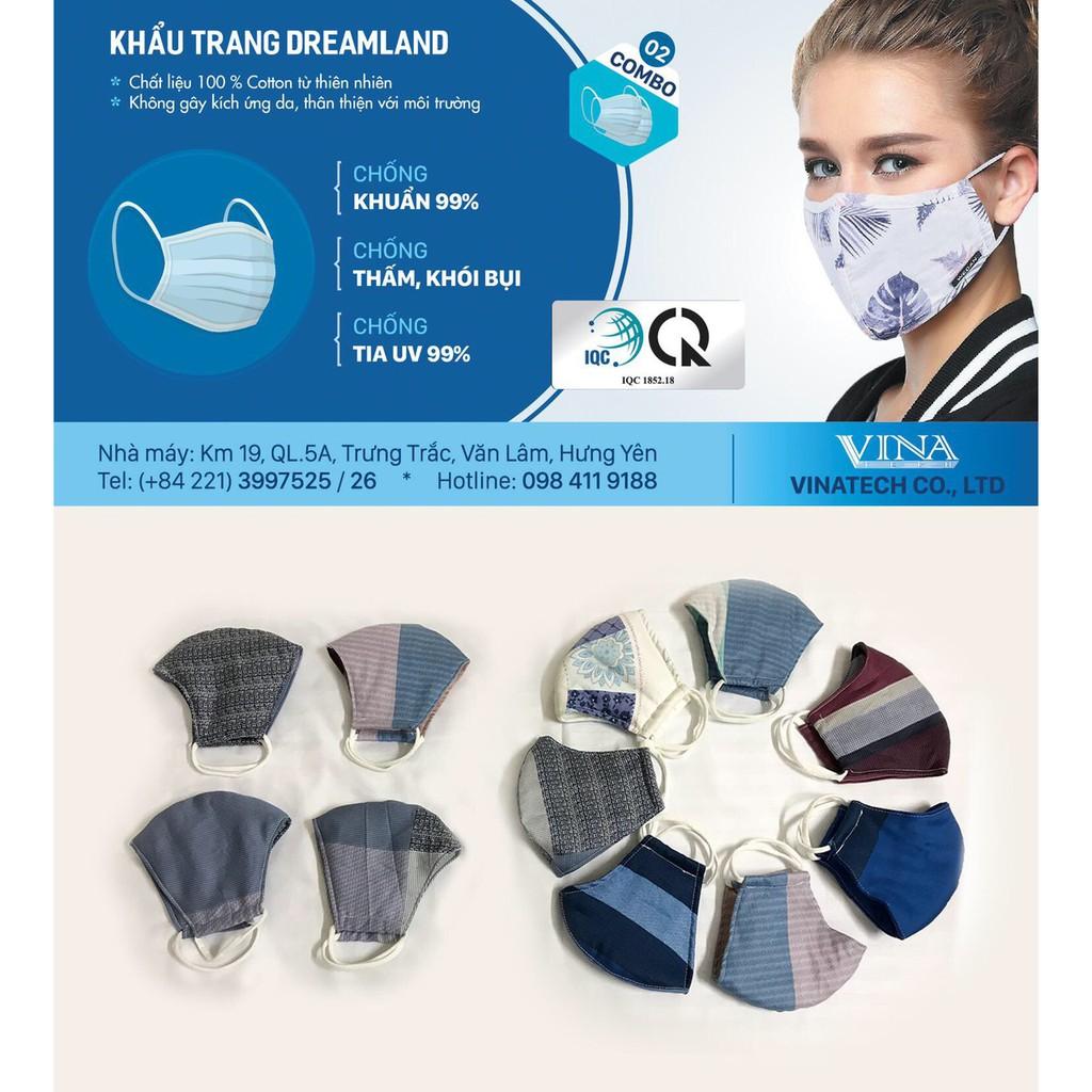 Khẩu trang vải cotton lụa Dreamland [ CAO CẤP] , khẩu trang kháng khuẩn, chống bụi, chống dịch, tái sử dụng nhiều lần