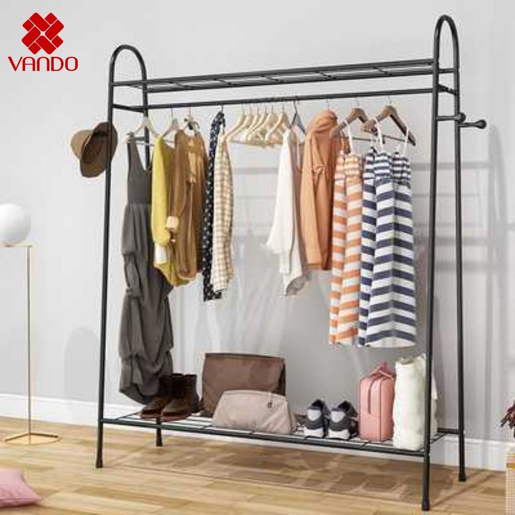 [𝐅𝐫𝐞𝐞𝐬𝐡𝐢𝐩] Giá treo quần áo phơi đồ- Kệ để giày dép tiện lợi khung kim loại chắc chắc VANDO