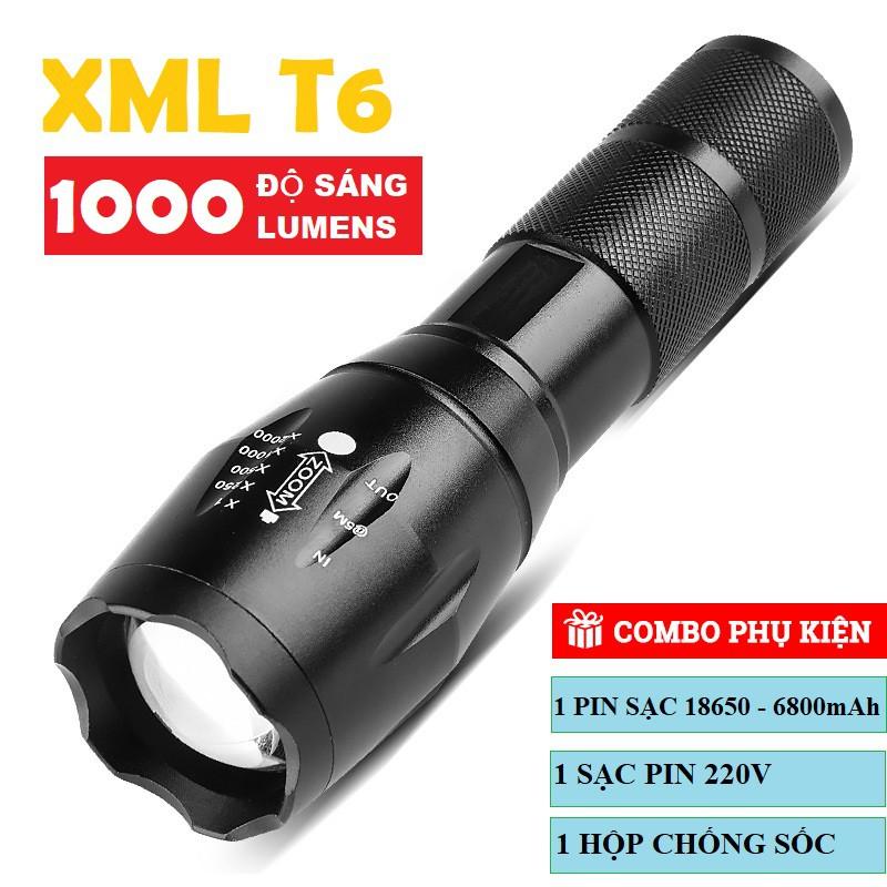 Đèn pin siêu sáng T6 gồm Pin + sạc + hộp
