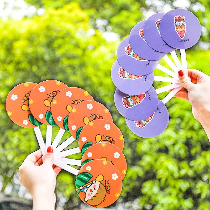 Quạt tròn gập 7 cánh hoạt hình - Thỏ Hồng