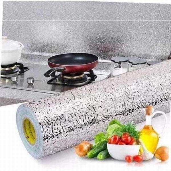 Giấy bạc ♥️FREESHIP♥️Giấy dán bếp tráng nhôm chống thấm màu bạc nhà bếp tiện dụng
