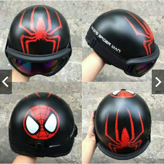 MŨ BẢO HIỂM + KÍNH UV: Người nhện, Rock, Captain,...