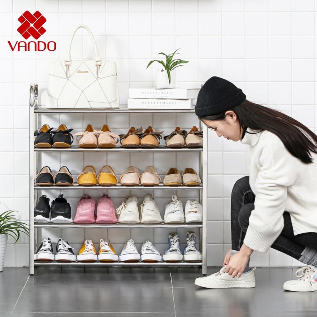 [𝗙𝗿𝗲𝗲𝘀𝗵𝗶𝗽] Kệ để giày dép 3,4,5, 6 tầng khung inox cao cấp, dễ dàng tháo rời VANDO