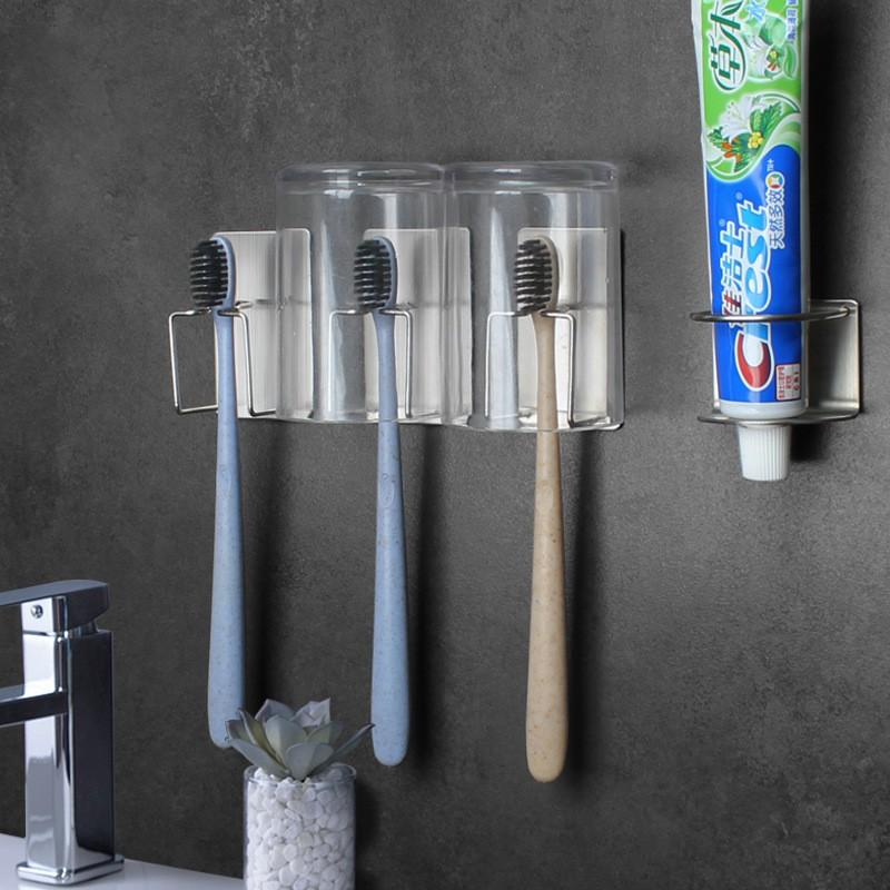 Bộ 3 giá móc inox dán tường để bàn chải, 1 kệ để kem đánh răng cho nhà tắm
