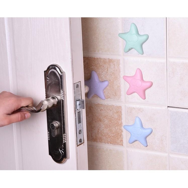 Miếng nhựa đệm sau cửa, nút chống chạm cửa hình sao, giảm tiếng động, chống shock tay nắm cửa, chống trầy xước tường