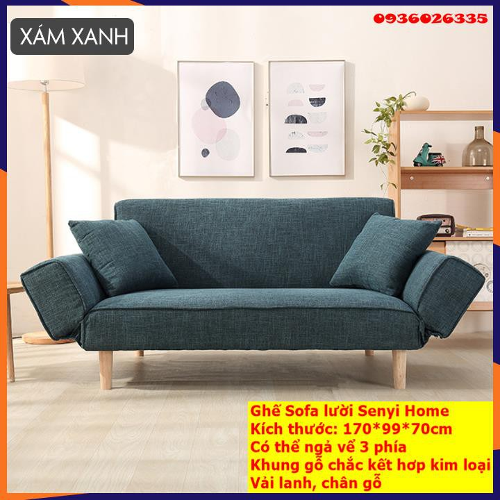 Ghế sofa giường đa năng, chất liệu vải lanh ,có ngả lưng, ngả tay