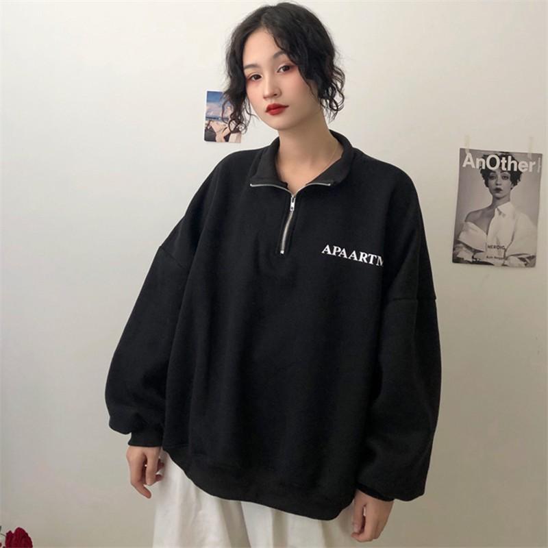 [HD51] Áo sweater nỉ bông nữ ulzzang có khóa dáng rộng tay phồng hàn quốc - Liti shop
