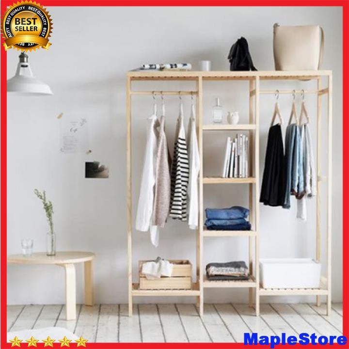 Tủ treo quần áo khung gỗ, tủ lắp ghép, tủ thông minh, phong cách Hàn Quốc  kích thước 119x35x150cm