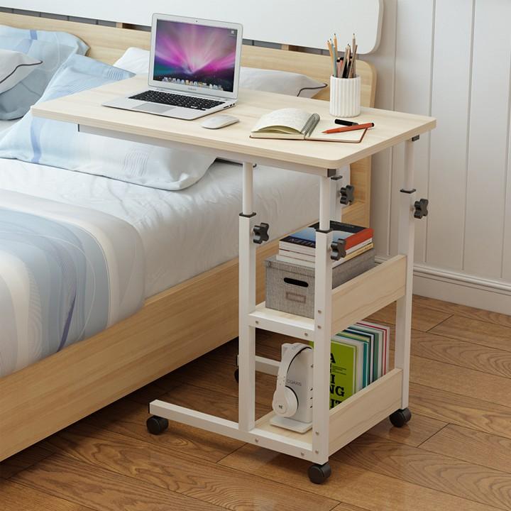 Bàn Laptop di động cao cấp gỗ công nghiệp Kèm Kệ Sách Nhỏ Bên Hông Tiện Lợi -KT 40x60
