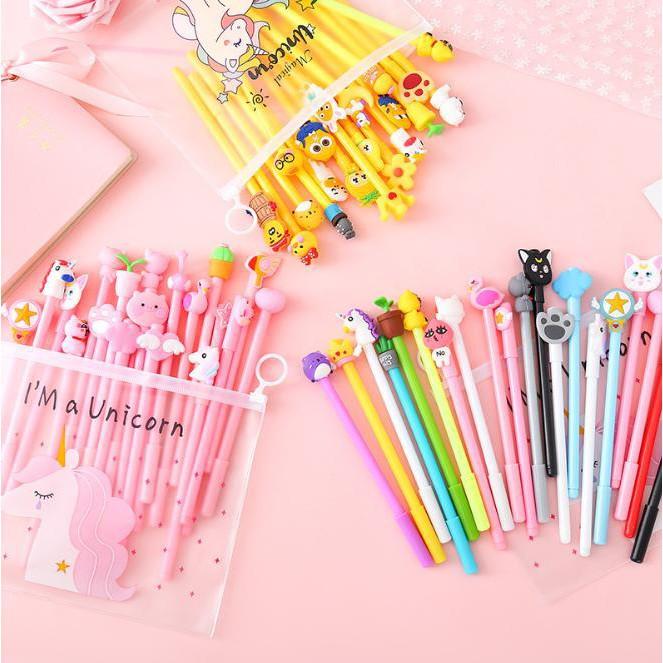 Combo 20 bút bi hình ngộ ngĩnh siêu cute tặng kèm túi Unicorn dễ thương