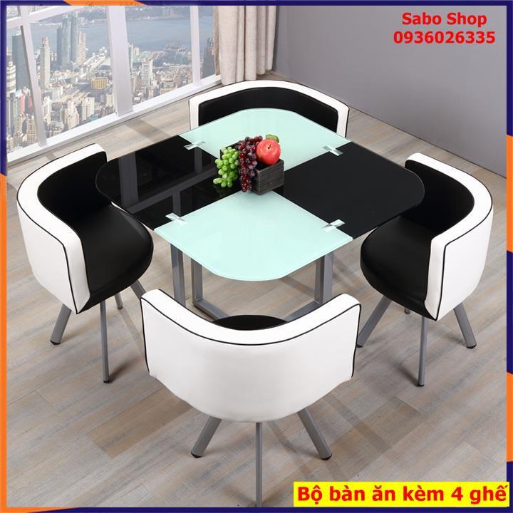 Bộ bàn ăn 4 ghế da, bàn mặt kính cường lực