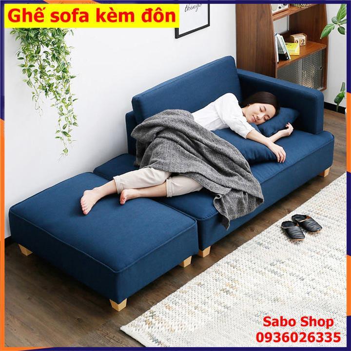 Ghế sofa phòng khách, Ghế sofa kiểu Nhật nhỏ gọn kèm đôn