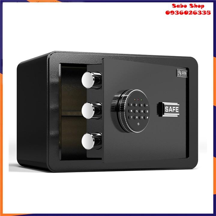 [Mẫu 2020] Két sắt mini an toàn cỡ nhỏ xách tay dành cho khách sạn, gia đình-sử dụng cả mã số và khóa chìa đồng thời