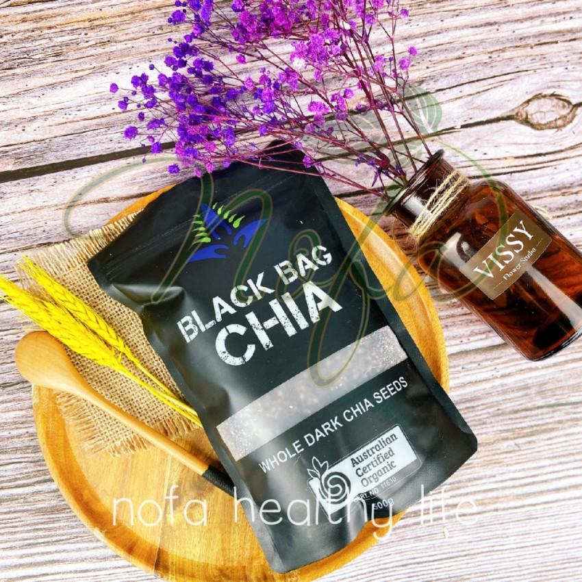 500Gram Hạt Chia Úc Organic Chia Seeds Túi Đen hàng chuẩn date mới NOFA