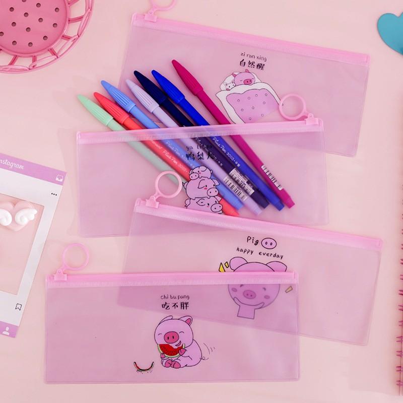 Túi đựng bút khóa zip hình heo xinh - Giá sỉ rẻ nhất