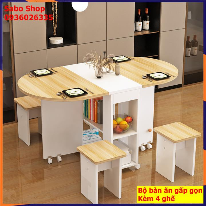 [Kèm 4 ghế] Bàn ăn thông minh gấp gọn tiết kiệm không gian tối đa, tích hợp tủ để đồ kích thước sử dụng 120*60*77