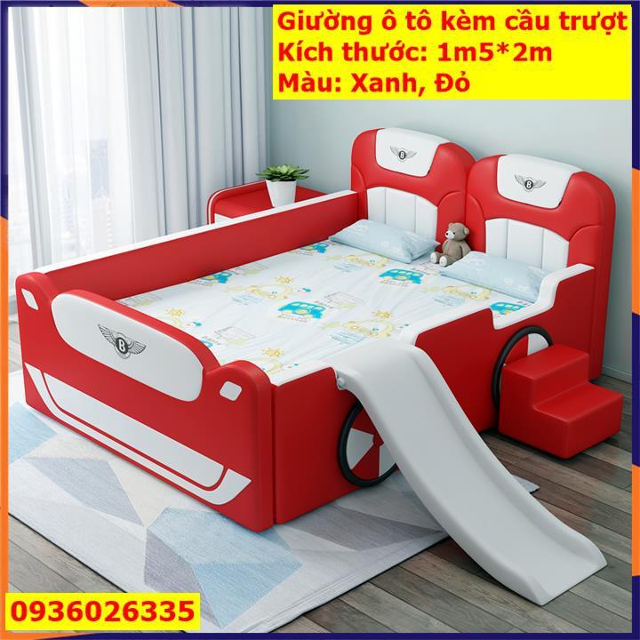[DÀNH CHO BÉ] Giường ô tô cho bé T426 Giường ngủ bé trai kiểu dáng ô tô sang trọng kích thước 1,5x2m