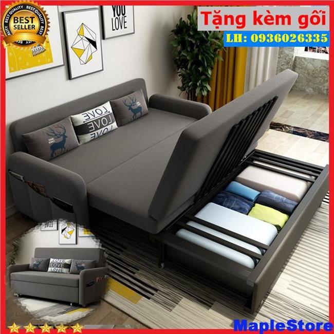 Sofa Giường Đa Năng 2 In 1 Chất Lượng Cao SB267 Tặng Kèm 3 Gối , có ngăn chứa đồ
