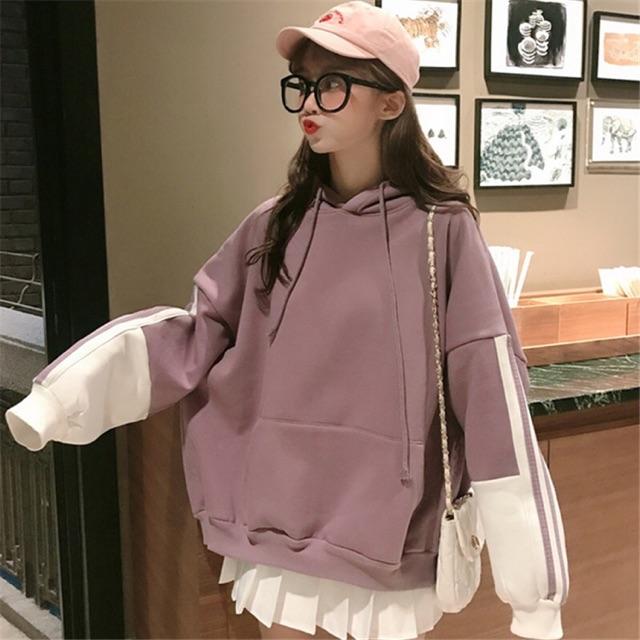 [HD45] Áo Hoodie Ulzzang Tím Trắng Dáng Rộng Cho Nữ - Liti shop