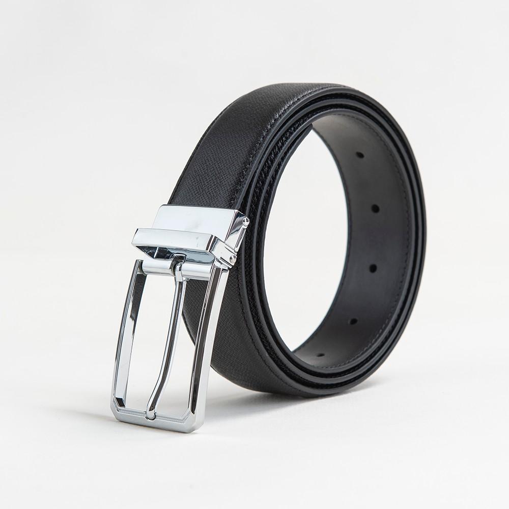 Thắt lưng da bò Lux 128 măt bạc ( Da saffiano )